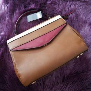 NWT Parfois Satchel, Handbag  Red White and Brown